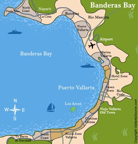 Puerto Vallarta Mexico Maps Maps for all areas of Vallarta and