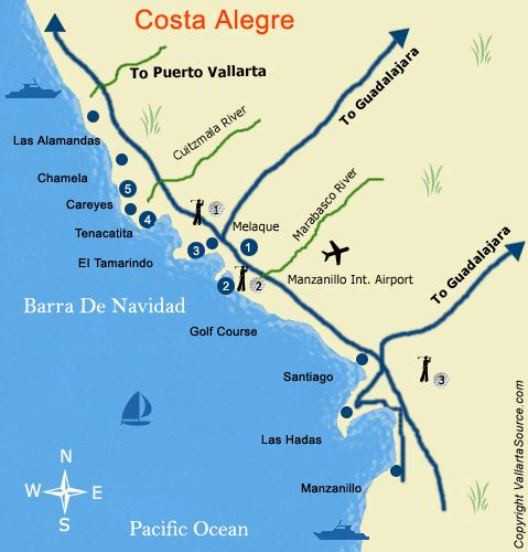 costa alegre map including barra de navidad and melaque