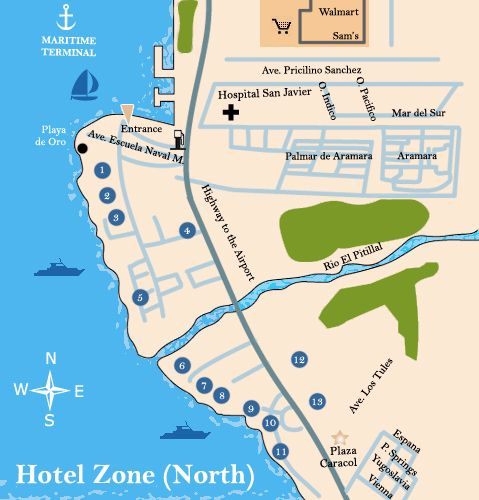 Puerto Vallarta Mexico Maps North Hotel Zone Puerto Vallarta