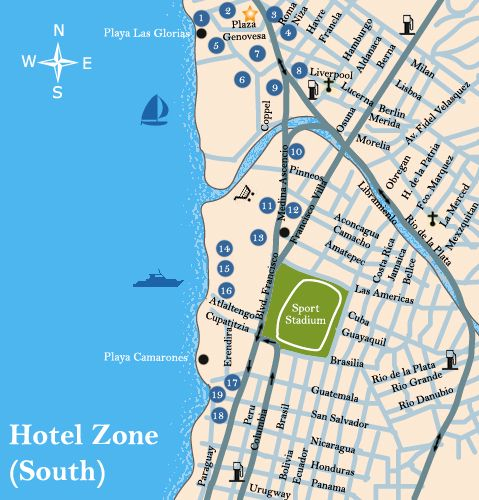 Puerto Vallarta Mexico Maps South Hotel Zone Puerto Vallarta