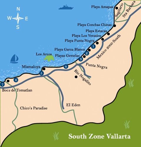Puerto Vallarta Mexico Maps South Coast area south of Puerto Vallarta